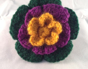 Crochet Flower Accessory Clip Yellow, Purple and Green
