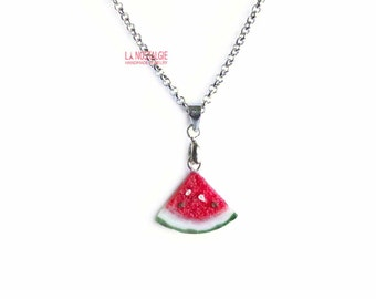 Watermelon Necklace,Fruit Jewelry,Summer Necklace,Triangle necklace silver,red pendant necklace,red charm necklace,food jewelry,real fruit