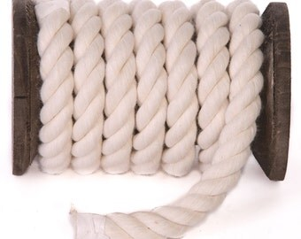 FMS Super Soft Triple-Strand 1/2 Inch Twisted Cotton Rope (Natural White)(100 FT)