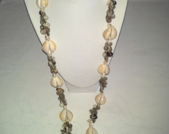 """African Cowrie Shell Necklace, 16.5"""" Long"""