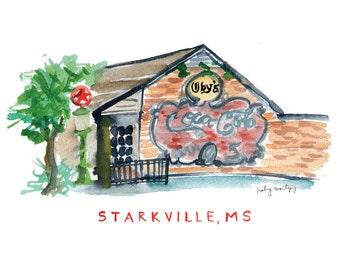 "Starkville Mississippi Restaurant Print -- Oby's 8 x 10"""