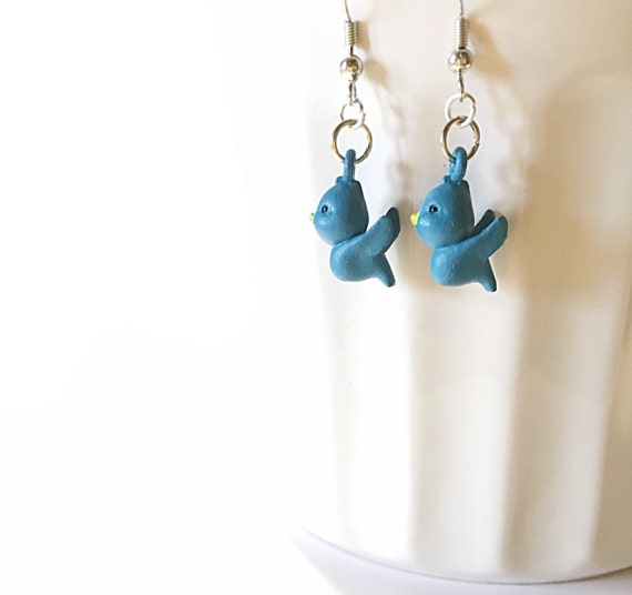 Small Blue Earrings: Little Blue Bird Earrings