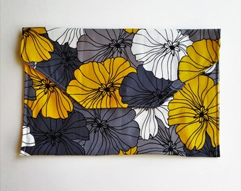 Yellow Gray Floral Vinyl Lined Diaper Clutch with Changing Mat