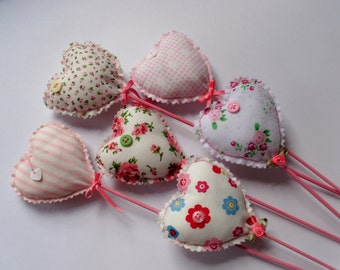Lavender hearts, hearts on sticks, party favors, wedding decor, Valentine gift, table decoration