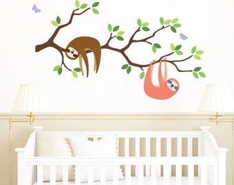 Branch Fabric Wall Decals - Sloth Wall Decal