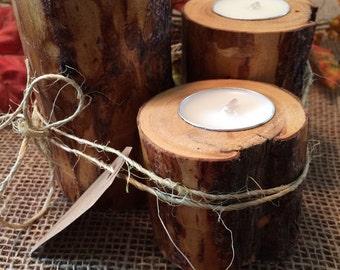 Set of 3 Rustic Lodgepole pine peeled Candleholders!