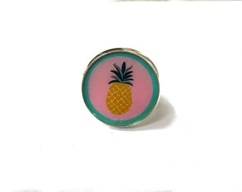 Pineapple ring, Yellow Pineapple jewelry, spring ring, adjustable ring, cute ring, fruit ring, pink, yellow, vegan