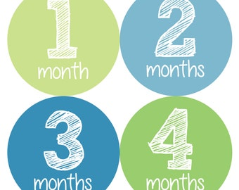 Baby Month Stickers, Monthly Baby Boy Stickers, Baby Month Milestone Stickers  - Baby Boy, Baby Shower Gift, Blue, Green