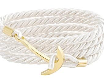 Geralin Gioielli Men Sailor Rope Handmade Natural White/Gold Anchor Bracelet