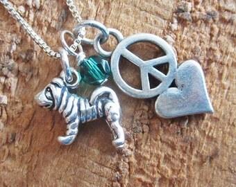 Shar-Pei Mini Peace Love Sterling Silver Necklace
