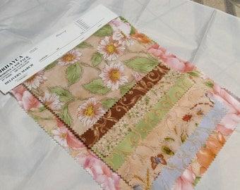 Quilt fabric, scraps, destash, Harmony, 8 piece set