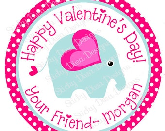 PERSONALIZED VALENTINE STICKERS - Sweet Elephant  - Round Gloss Sticker Labels