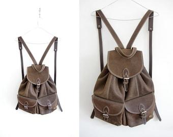 Vintage backpack // brown suede leather rucksack
