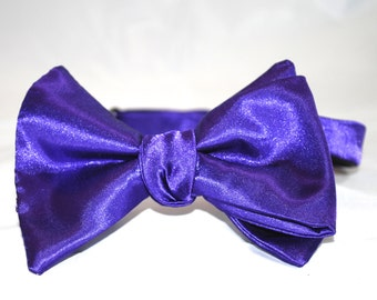 Purple Silk Self Tie Bow Tie