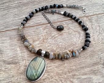 Parallel Dimension- Mystical Labradorite & Black Onyx Adjustable Beaded Pendant Necklace