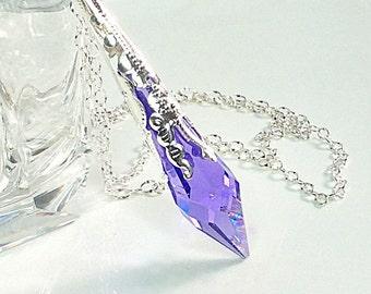 Swarovski Crystal Pendant Necklace, Amethyst Crystal Pendulum Pendant, Magic Pendulum, Wiccan, Pagan, February Birthstone, Prism Necklace