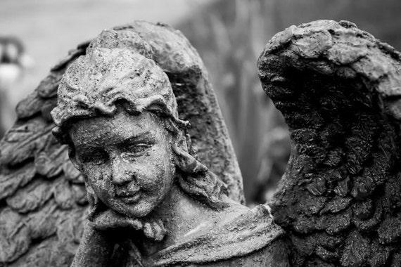 Black & White Photography - Angel - fine art print wall photo home decor statue religious cherub monochrome