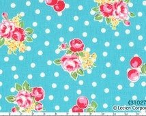Flower Sugar fabric by Lecien - Turquoise Roses and Cherries Polka Dots - aqua floral fabric, cherry fabric, bright summer print