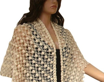Crochet Shawl, Scarf, Off White, Triangle, Woman Accessory, For Her, Ready To Ship, Express Cargo
