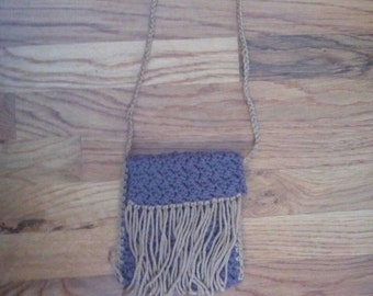 Ready to ship: Brown cross body pouch purse with tan tassels.