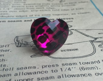 Pink Leopard Print Heart Ring