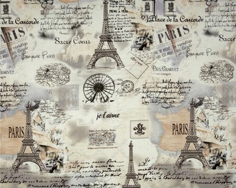 Eiffel Tower Fabric, French Script Fabric, Paris Map Fabric, Postage Stamp, Quilting Fabric, Craft Supply, ApparelFabric, Fabric By The Yard