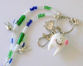 Dental Beaded ID Badge Lanyard Necklace Lariet