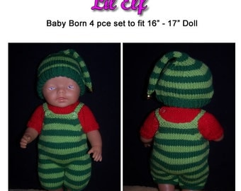 LIL ELF knitting pattern for Baby born dolls