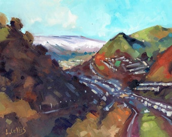 Snow Glimpses New Tredegar. 7'' x 5'' Art Greetings Card. Quality printed card, blank inside.