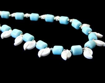 Powder Blue Necklace Glass Beads Asymmetrical