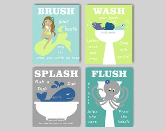 Kids Bathroom Wall Art kids bath wall art shark bath prints bath rules splash flush