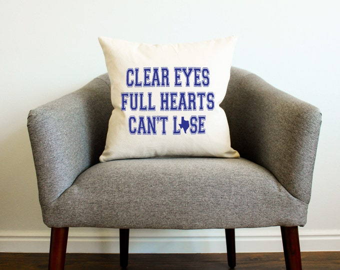 """Friday Night Lights TV SHOW """"Clear Eyes, Full Hearts, Can't Lose"""" Pillow - Home Decor, Texas, Football, Gift for Him, Gift for Dad"""
