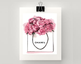 LARGE - Chanel and pink peonies print of original watercolour