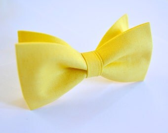 Yellow Bow Tie,kids bow tie, buttercup yellow bow tie for kids,yellow wedding accessories,ring bearer bow tie