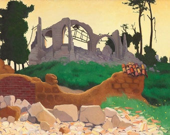 "Felix Vallotton : ""The Church of Souain in Silhouette"" (1917) - Giclee Fine Art Print"