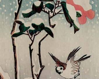 "Utagawa Ando Hiroshige : ""Sparrows and Camellias in Snow"" (1830-1858) - Giclee Fine Art Print"