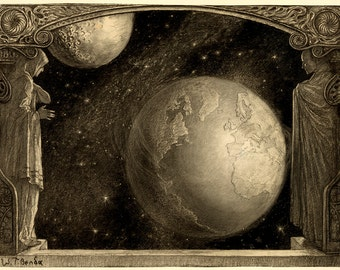 """Wladyslaw T. Benda : """"The Earth and the Milky Way and Moon"""" (1918) - Giclee Fine Art Print"""