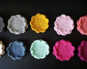 Crochet flower coasters, cotton floral coaster set of 4, mother's day gift