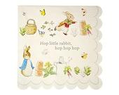 "Peter Rabbit LARGE Paper Napkins (Set of 20) - 6.5"" x 6.5"" - Meri Meri Beatrix Potter Party Napkins (Licensed)"