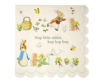 "Peter Rabbit LARGE Paper Napkins (Set of 20) - 6.5 x 6.5"" - Meri Meri Beatrix Potter Party Napkins (Licensed)"