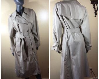 Vintage 70s Coat trenchcoat, spy coat, 70s Khaki raincoat belted, princess Coat, Vintage spy coat, London Fog