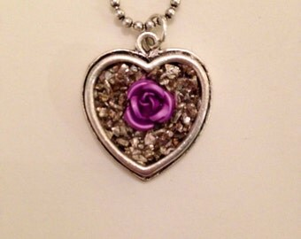 Heart Pendant Silver Pendant German Glass Glitter Rose Pendant Christmas Gift Mothers Day Gift