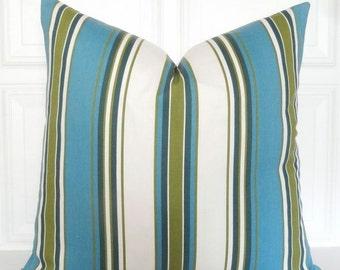 Blue and Green Stripe Pillow Cover - Decorative Pillow - Throw Pillow - 18x18, 20x20 Lumbar - Toss Pillow - Couch Pillow - Striped
