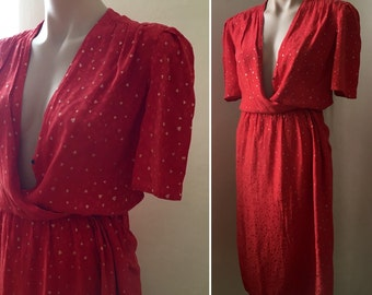 Valentine's Day Vintage Red SILK Gold Hearts Wrap Dress Sweetheart XS S 70s Novelty