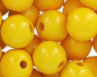 Yellow Wood Beads, 8mm