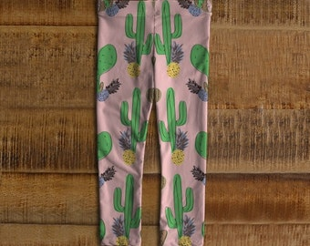Leggings pink with Cactus and pineapple for children 6 months to 3 years. Printed by sublimation