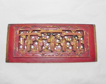 Chinese Chaozhou Wood Relief Panel, 19th Century, Qing
