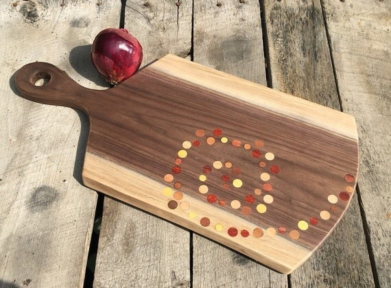 Natural Edge Walnut Cutting Board with Spiral Dot Pattern