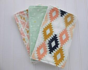 Baby Girl Burp Cloth Set, Set of 3 Burp Cloths: Aztec Burp Cloth, Mint Triangle Burp Cloth and Mint, Gold and Peach Geometric Burp Cloth