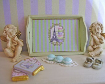 Ladurée Style Miniature Wooden Tray 1:12 scale for Dollhouses